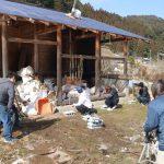小塩薪小屋建て方−1  2月9日