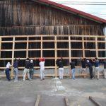 平成の京町家解体材を収納する小屋を建設する 8月6日