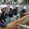 学園祭の堀川茶室をつくる 茅葺き 10月29日
