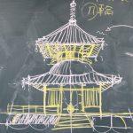 一点パースで多宝塔を描く 6月6日意匠演習から