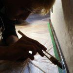 杉板網代張りに挑戦する−5 8月2日 幅木に油塗って完成!