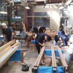 建工祭堀川茶室制作−2 部材を刻む 9月30日