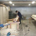 宇治の茶園小屋を建てる−3 丸太削り終了   4月15日