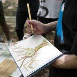 京都御苑で木のスケッチ演習 7月2日