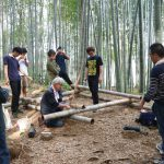 竹林木匠塾2020−2 物集女竹林で舞台の位置決め 8月2日