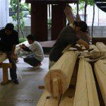 宇治茶園小屋建設−10 夏休み中の作業です 8月12日