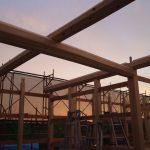 宇治茶園小屋建設−15 建て方2日目  9月20日