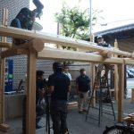 宇治茶園小屋建設−11 庇の仮組 9月5日