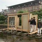 学園祭堀川茶室−1 組み立て始めました 10月19日