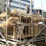 学園祭堀川茶室−3 苫葺き屋根&土壁塗り 10月29日