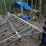 物集女竹林木匠塾  竹吊り屋根をつくる−4   8月7日